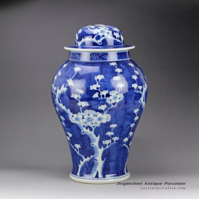 DS65-RYLU_Hand paint blue white ceramic winter sweet pattern factory outlet small ceramic ginger jar lamps