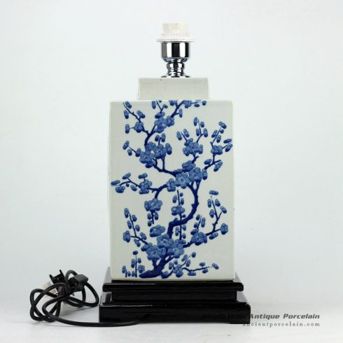 DS66-RYQQ_Hand paint winter sweet pattern hot sale blue white ceramic square jar lamp