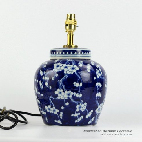 DS79-RYQQ53-D_Dark blue and white winter sweet flower pattern ceramic jar lamp