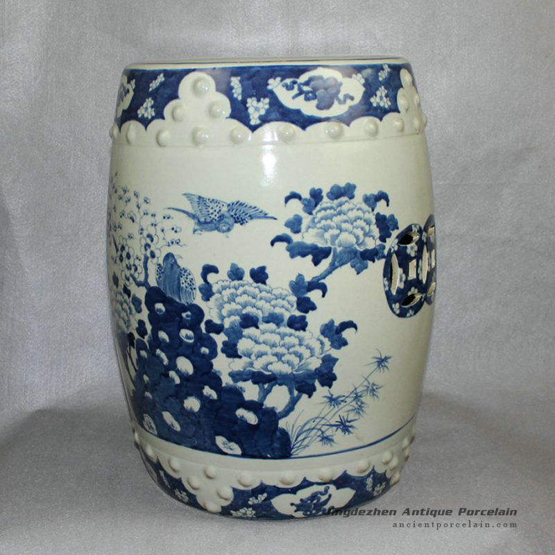 Superb Rylu10 Blue And White Paint Flower Bird Chinese Garden Theyellowbook Wood Chair Design Ideas Theyellowbookinfo