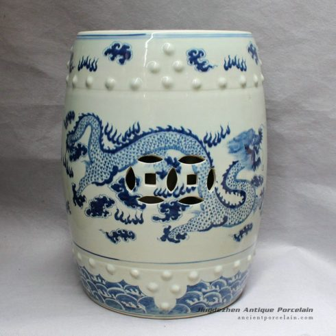 RYLU12_Chinese antique furniture Blue and White Painted dragon Ceramic Stool