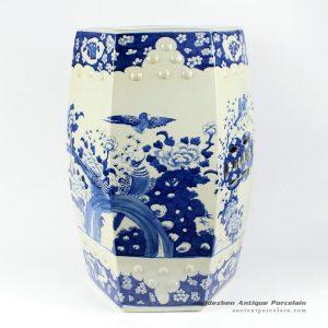 RYLU13_Hexagonal blue and white ceramic garden embellishing seat