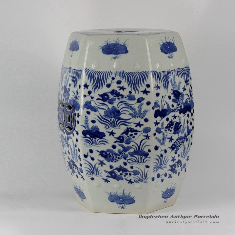 Rylu17 B Blue Amp White Fish Grass Design Hexagon Ceramic