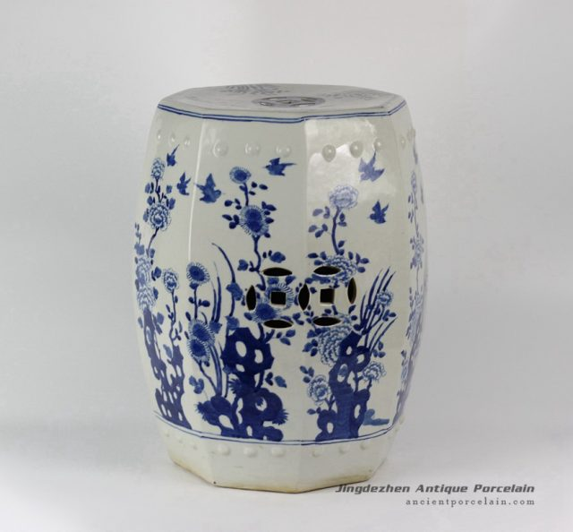 RYLU17-C_ Blue & White Floral Bird design Octagon Ceramic Garden Stool