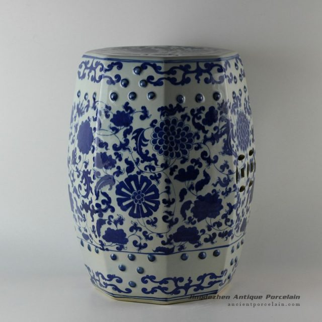 RYLU17_ Hand painted garden blue and white oriental stools floral design