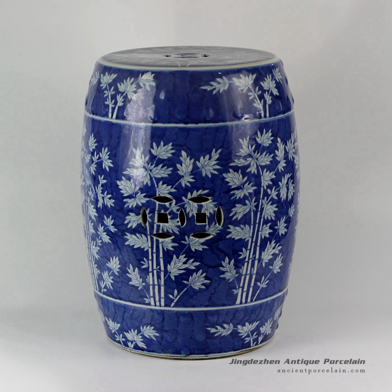 RYLU18-B_Hand painted Blue and White Bamboo design Ceramic Garden Stool