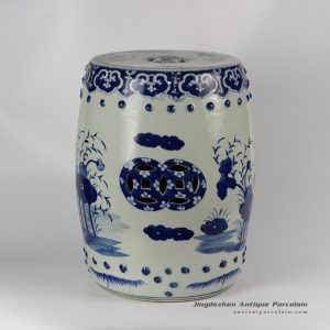 RYLU18_Hand painted blue and white chinese ceramics stools floral design