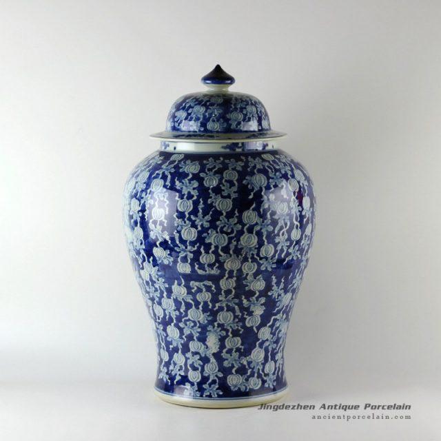RYLU19_Wholesale hand painted white and blue floral fruit vintage Porcelain Ginger Jars