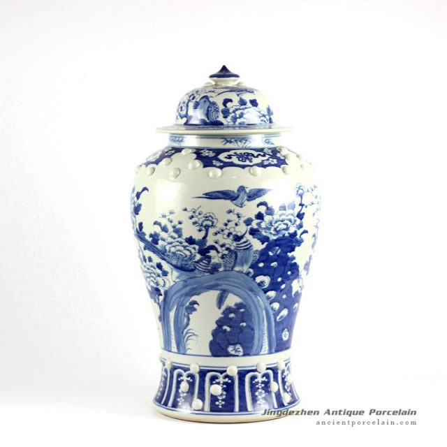 RYLU20-SMALL_Blue and white bird floral pattern antique temple jar