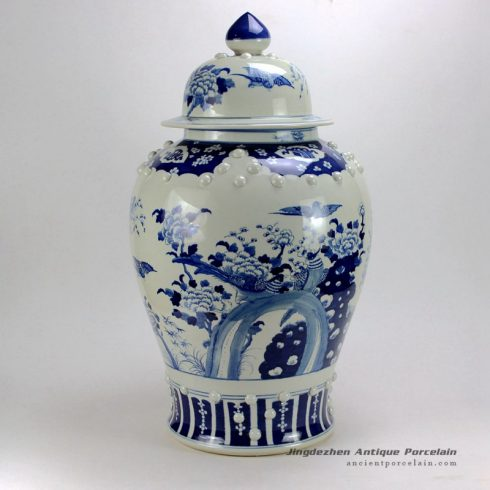Blue and White Flower Bird Ginger Jars