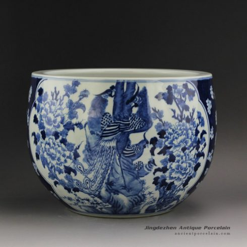 RYLU21_Blue and White Medallion Flower Bird Pots
