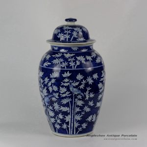 RYLU22_Blue & White Bamboo Bird Ceramic Ginger Jar