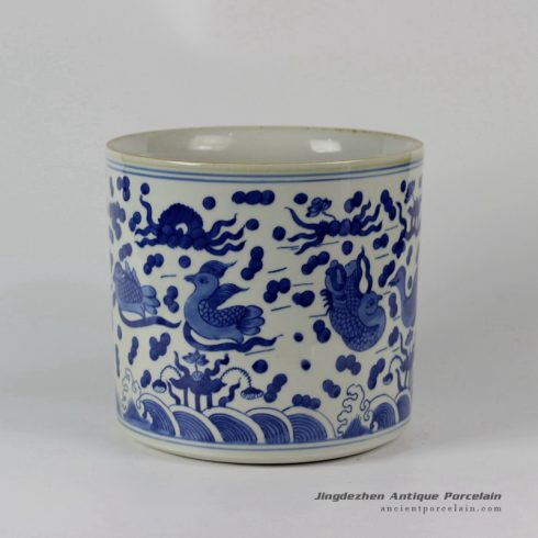 RYLU24-A_Blue & White Sea Bird Ceramic Brush Holder