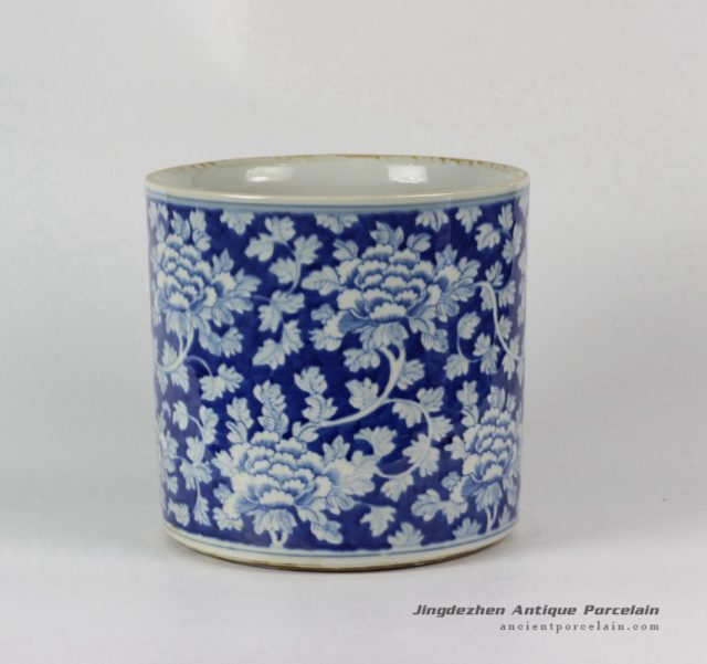 RYLU24-B_Blue & White Floral design Ceramic Pen Holder