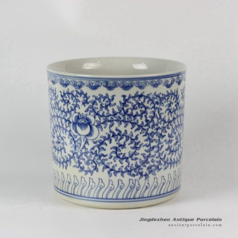 RYLU24-C_Blue & White Floral design Ceramic Pen Holder