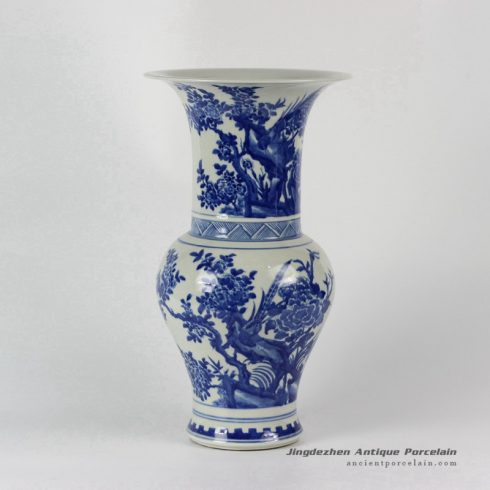 RYLU25_Flower Bird Blue and White Vases