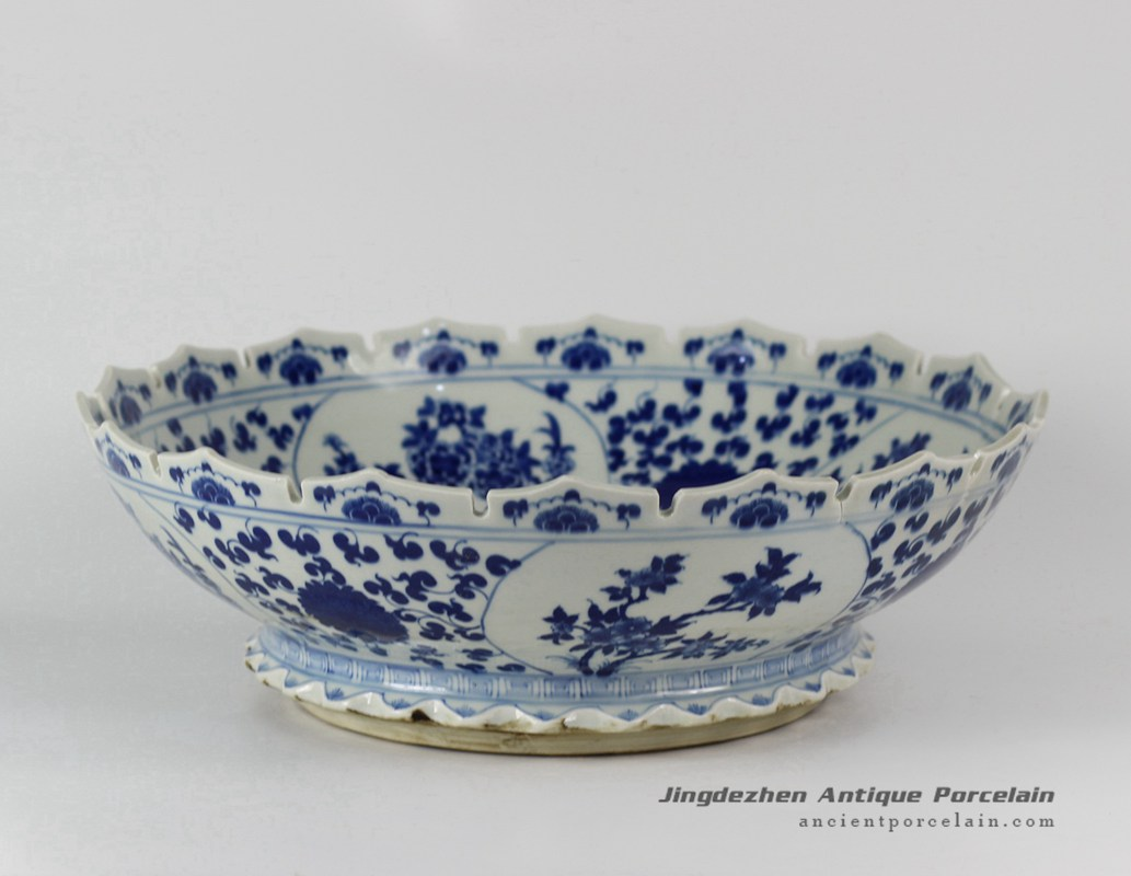 Rylu28 porcelain flower design blue and white bowls for Decorating with blue and white pottery