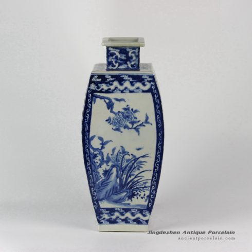 RYLU29_Hand made White Blue Porcelain Vases