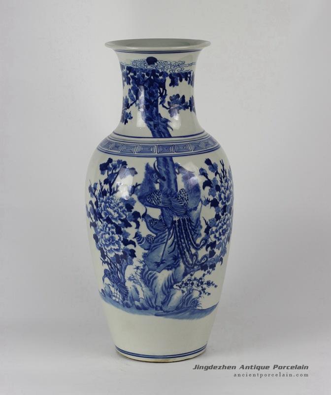 RYLU33_Flower Bird Blue and White Porcelain Vases