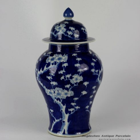 RYLU35_ Hand painted Plum blossom Blue White Ceramic Ginger Jar