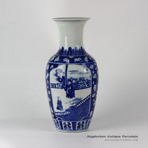 RYLU37_Hand painted Blue and White Porcelain Medallion Vases