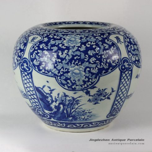 RYLU38_Porcelain Medallion Flower Design Blue and White Pots