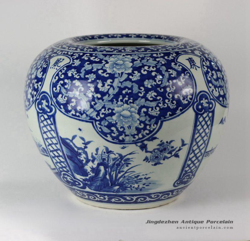RYLU38_Porcelain Medallion Flower Design Blue and White Pots