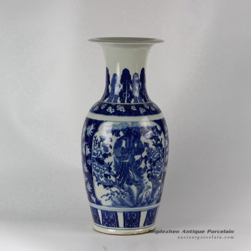 RYLU39_Hand painted Blue and White Medallion Floral Bird Vases