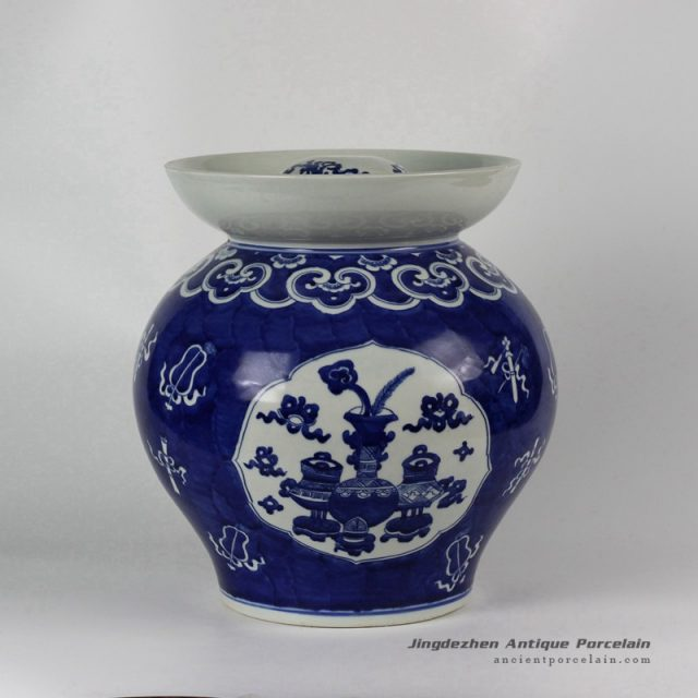 RYLU40_Hand painted Blue White Eight Treasure Ceramic Pickle Jar