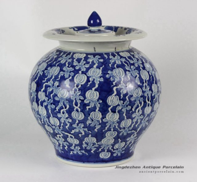 RYLU41_Hand painted Blue White Fruit melon Ceramic Pickle Jar