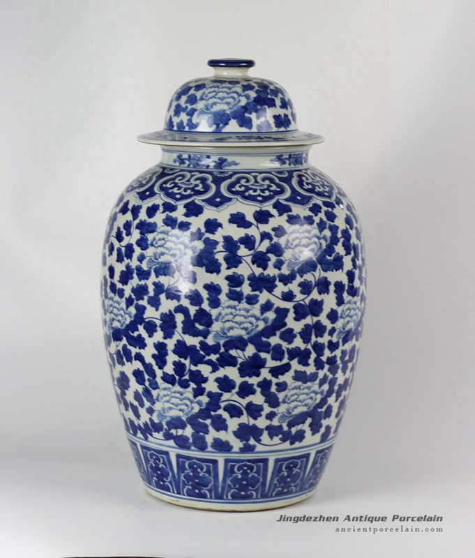 RYLU42_Hand painted Blue & White Floral Ceramic Ginger Jar