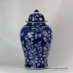 RYLU45_Ceramic Hand painted Bamboo Blue and White Ginger Jar