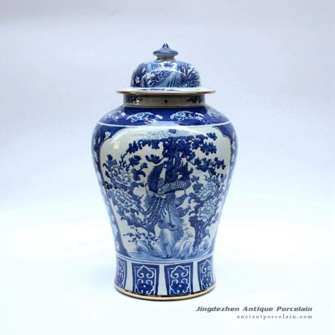 RYLU48-A_Phoenix floral pattern gold line plated chinese porcelain ginger jar