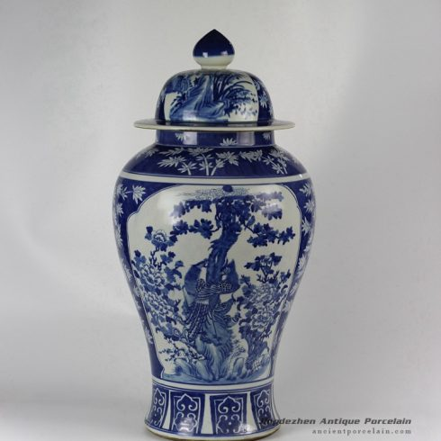 RYLU48_Hand painted Medallion Flower Bird Design Blue and White Temple Jars