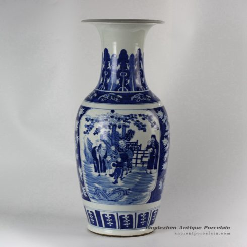 RYLU49-b_Ceramic Blue and White Medallion Vases