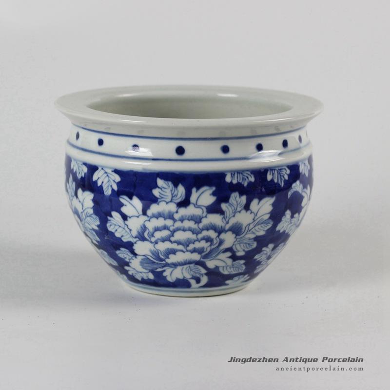 RYLU52_Blue and White Ceramic Flower Pot