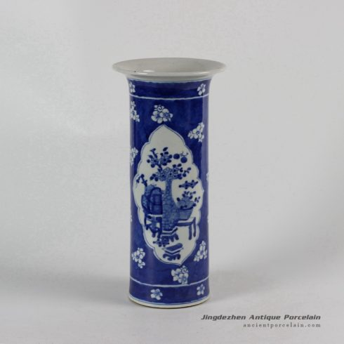 RYLU54_ Blue and White Medallion Eight Treasure Vases