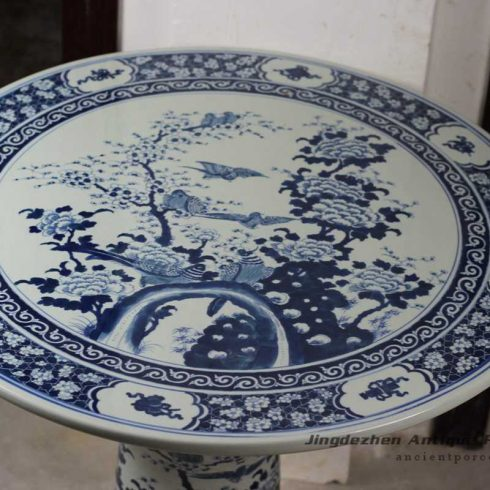 RYLU56-B_Blue and White Floral Ceramic Table