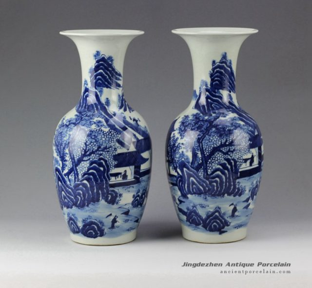 RYLU58_Pair of Hand Painted Blue and White Porcelain Vases