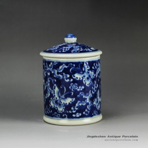 RYLU59-A_Blue and white treasure storage lidded tin jar