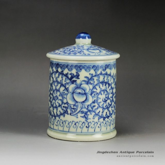 RYLU59-B_Blue and white treasure storage lidded tin jar