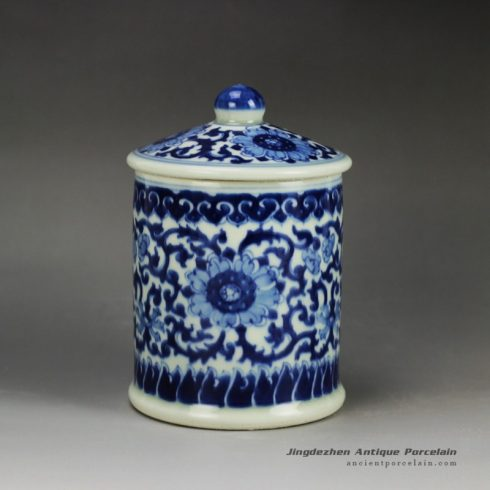RYLU59-C_Blue and white treasure storage lidded tin jar