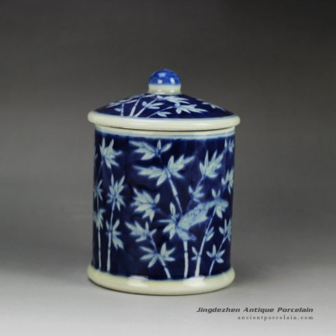 RYLU59-D_Blue and white treasure storage lidded tin jar