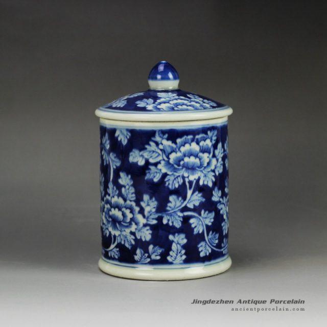 RYLU59-E_Blue and white treasure storage lidded tin jar