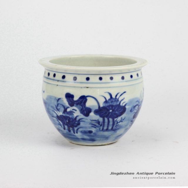 RYLU60-A_Small Painted Lotus Blue and White Cearmic Flower Pot