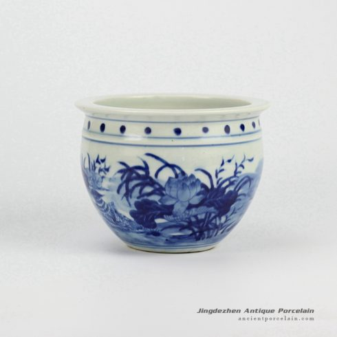 RYLU60-B_Painted Blue and White Small Cearmic Planter