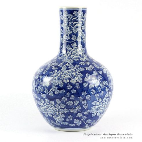RYLU62-B_Blue and White Floral Porcelain Ball Vase
