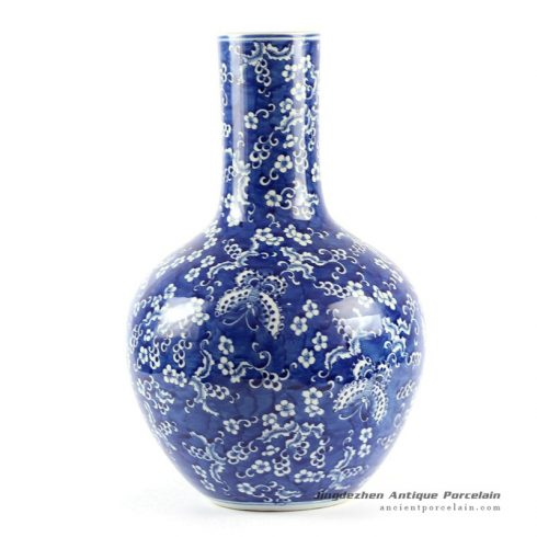 RYLU62-C_16inches Blue and White Butterfly Ball Porcelain Vase