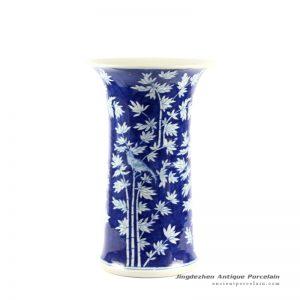 RYLU63_H16″ Blue and White Bamboo Bird Design Flower Vase