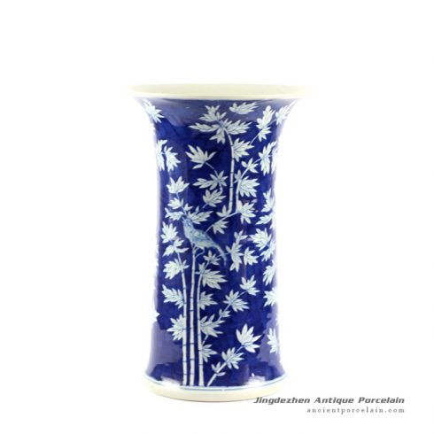 RYLU63_H16″ Blue and White Bamboo Bird Design Flower Vase